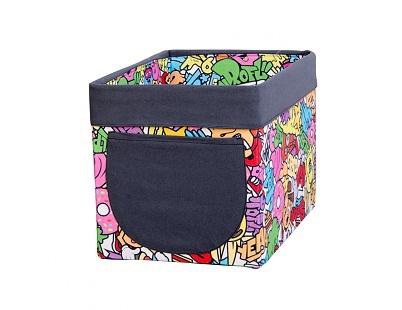 Úložný textilný box Komiks - mix farieb