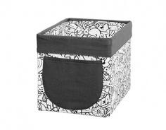 Úložný textilný box Komiks - čierna / biela
