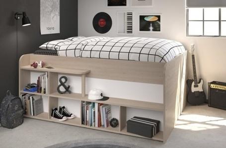 Multifunkčná vyvýšená posteľ Walter - dub brooklyn / biela
