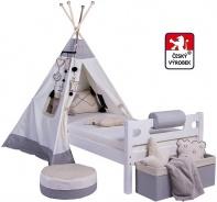Masívna detská posteľ Benjamin Bubbles 90x200cm s TEEPEE - výber odtieňov