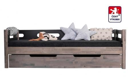 Masívna detská posteľ Benjamin Bubbles 90x200cm so zábranou a prístelkou - výber odtieňov