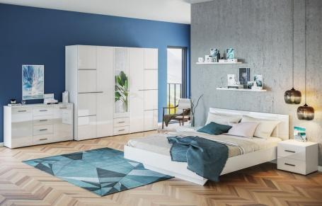 Spálňa CRUISE (posteľ 180, skriňa, komoda, 2x n. Stolík)