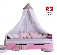 Masívna detská posteľ Benjamin Bubbles 90x200cm s nebesami a úložným priestorom - výber odtieňov