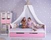 Masívna detská posteľ Benjamin Bubbles 90x200cm s nebesami a úložným priestorom