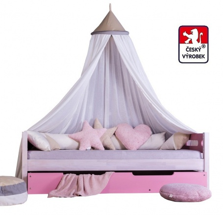 Masívna detská posteľ Benjamin Bubbles 90x200cm s nebesami a prístelkou - výber odtieňov
