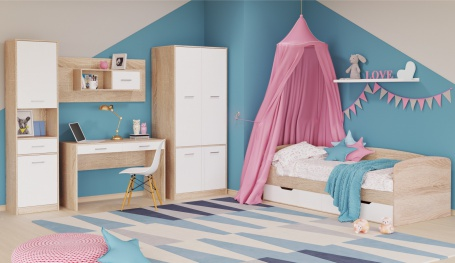 Detská izba STELS 1 - dub sonoma/biela