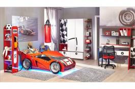 Detská izba FORMULA 2 - biela/červená/čierna