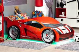 Detská posteľ auto FORMULA 80x160cm - červená/biela