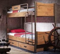 Detská poschodová posteľ Jack 90x200cm s úložným priestorom - dub lancelot