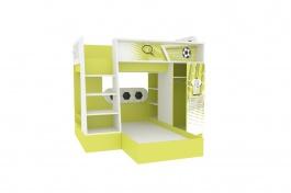 Poschodová posteľ FOTBAL - zelená/biela