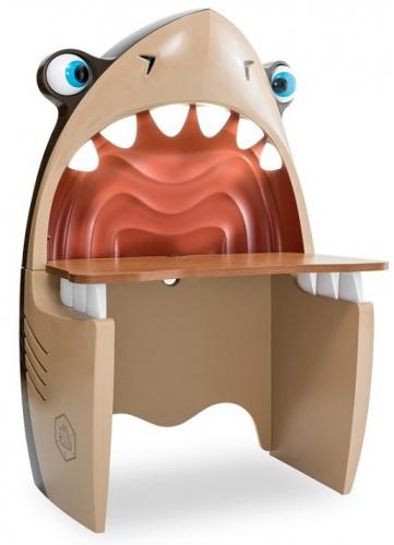Písací stôl v tvare žraloka Jack - hnedá / béžová