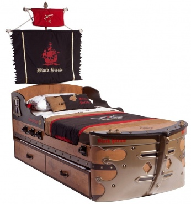 Detská posteľ Jack 90x190cm v tvare lode s úložným priestorom - dub lancelot