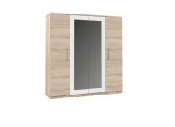 Šatník AVRORA 4 dverová - dub sonoma/biela