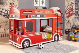 Poschodová posteľ London bus - červená