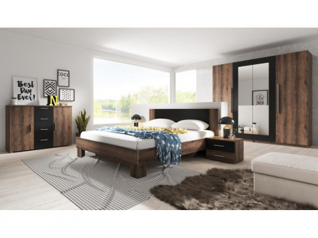 Spálňa TERA, s posteľou 180x200 cm - dub monastery/čierna