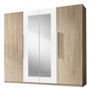 Šatníková skriňa TERA 4-dverová - dub sonoma/biela