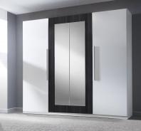 Šatníková skriňa TERA 4-dverová - biela/orech čierny