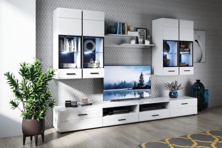 Obývacia stena YORK 1 - 280cm - biela vysoký lesk