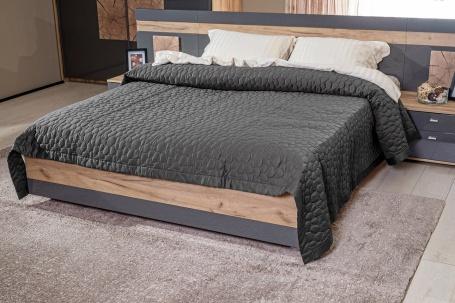 Manželská posteľ FIJI 160x200cm - antracit/dub san remo