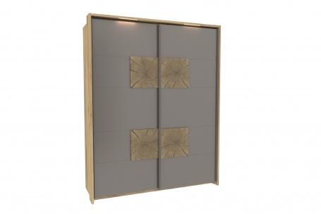 Šatníková skriňa s posuvnými dverami Markus - sivý lesk/dub sanremo
