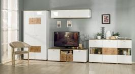 Obývacia zostava Markus - biely lesk/dub sanremo