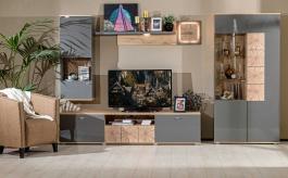 Obývacia stena FIJI - antracit lesk/dub san remo