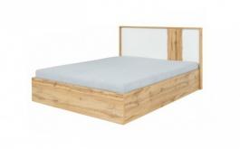Posteľ s úložným priestorom, dub wotan/biela, 160x200, Vodena