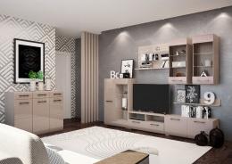 Obývacia stena Nensí 280cm - jaseň svetlý/cappuccino lesk