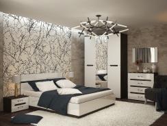 Spálňa VEGAS - biela lesk/wenge