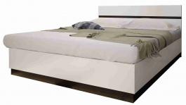 Manželská posteľ VEGAS - biela lesk/wenge