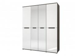 Šatníková skriňa 4-dverová VEGAS - biela lesk/wenge