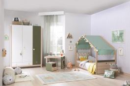 Detská izba Beatrice - dub svetlý/biela/zelená