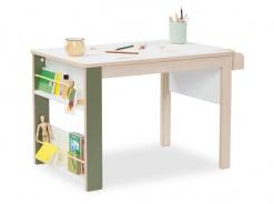 Detský multifunkčný stolík Beatrice - dub svetlý/biela/zelená