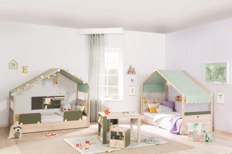 Detská izba Beatrice pre dve deti - dub svetlý / biela / zelená