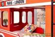Poschodová posteľ England - červená/biela/čierna