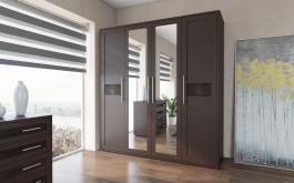 Šatníková skriňa 4-dverová TOKIO - wenge/ekokoža hnedá