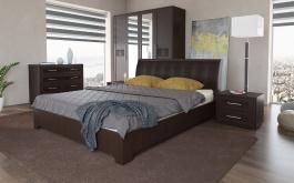 Manželská posteľ TOKIO 160x200cm - wenge/ekokoža hnedá