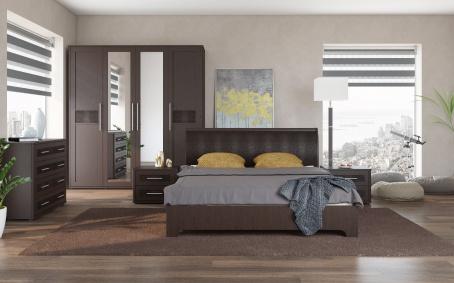 Spálňa TOKIO - wenge/ekokoža hnedá