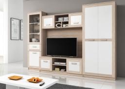 Obývacia stena SORA - svetlá sonoma/biela