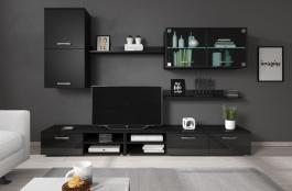 Obývacia stena Varese - čierna/čierny lesk