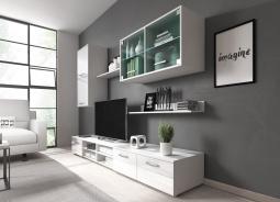 Obývacia stena Varese - biela/biely lesk