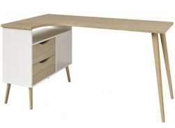 Rohový písací stôl Linnea - dub sonoma / biela
