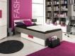Detská posteľ s úložným priestorom lobom - sivá / biela / fialová