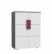 Detská komoda lobom 40 - sivá / biela / fialová