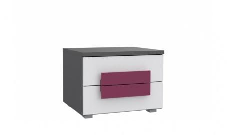Detský nočný stolík Lobete - sivá / biela / fialová