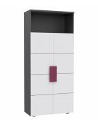 Skriňa Lobete - sivá / biela / fialová
