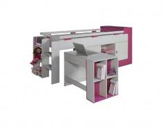 Vyvýšená posteľ s písacím stolom Adela - jaseň/ružová