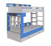 Poschodová posteľ s úložným priestorom Adela - jaseň/modrá