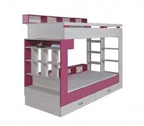 Poschodová posteľ s úložným priestorom Adela - jaseň/ružová