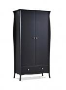 Šatníková skriňa Baroko 2D1S - čierna / hnedá
